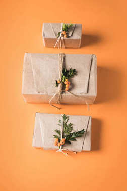 gift boxes in row
