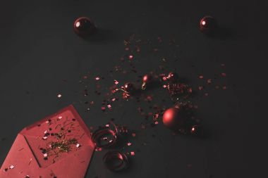 christmas balls, confetti and envelope
