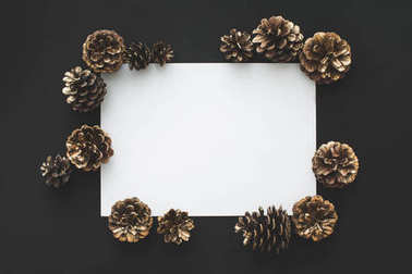pine cones with blank card