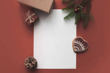 blank card with christmas presents