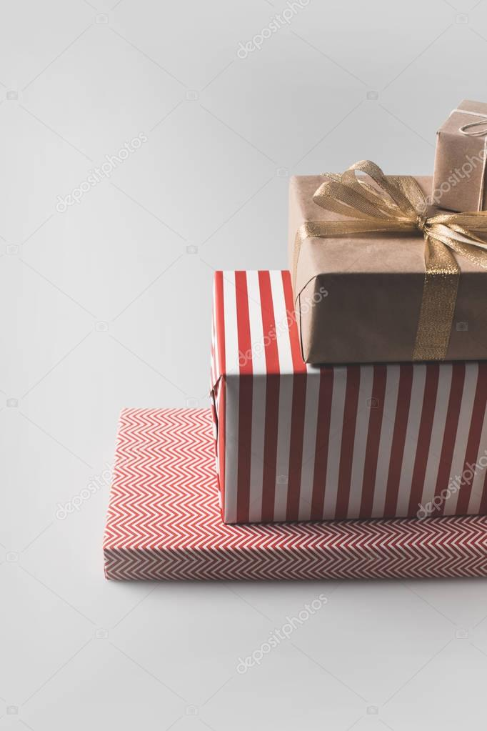 stack of christmas gift boxes