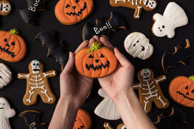 various decorative halloween cookies