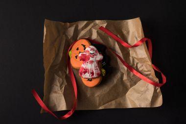 halloween cookies in baking paper