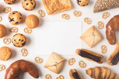 various types of pastry and blank card