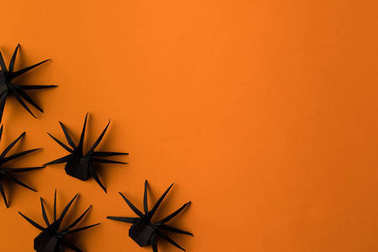 black origami spiders
