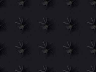 Halloween texture with black origami spiders, isolated on black stock vector