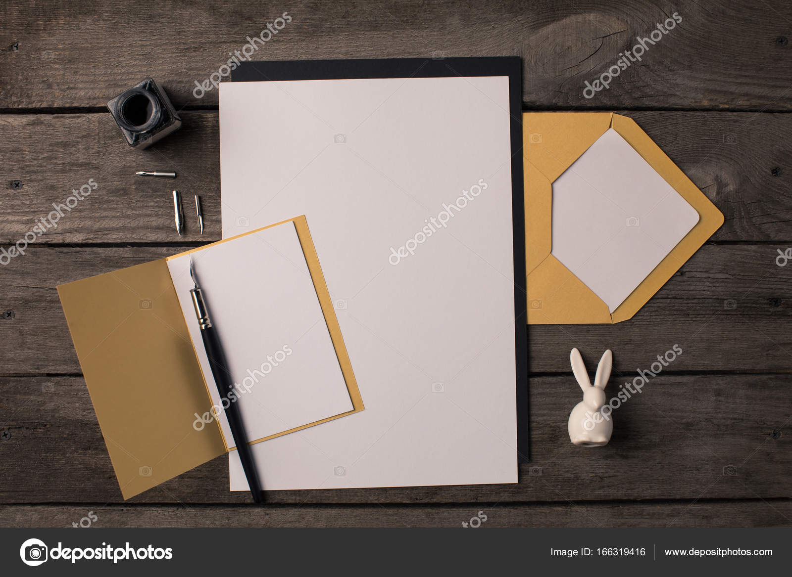 composition of blank papers for invitations stock photo