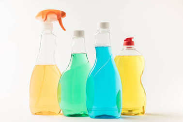plastic bottles with cleaning fluids