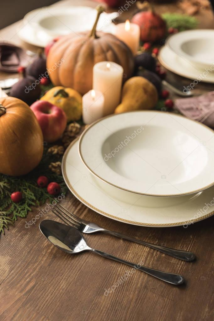 Served table with harvest
