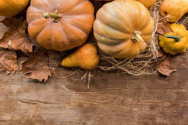 ripe pumpkins on table
