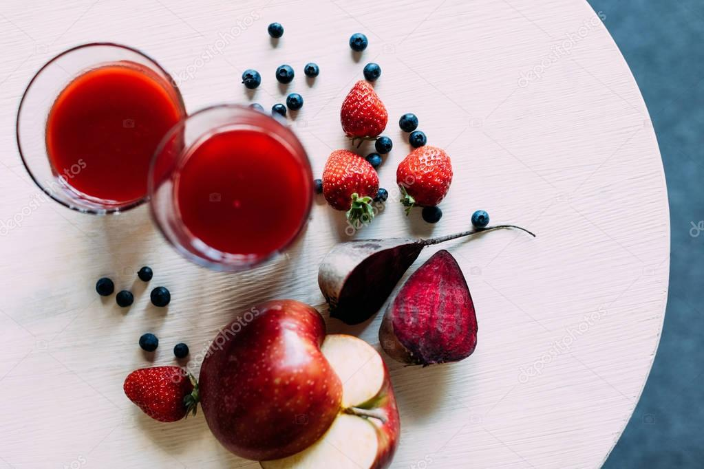 red smoothie in glasses