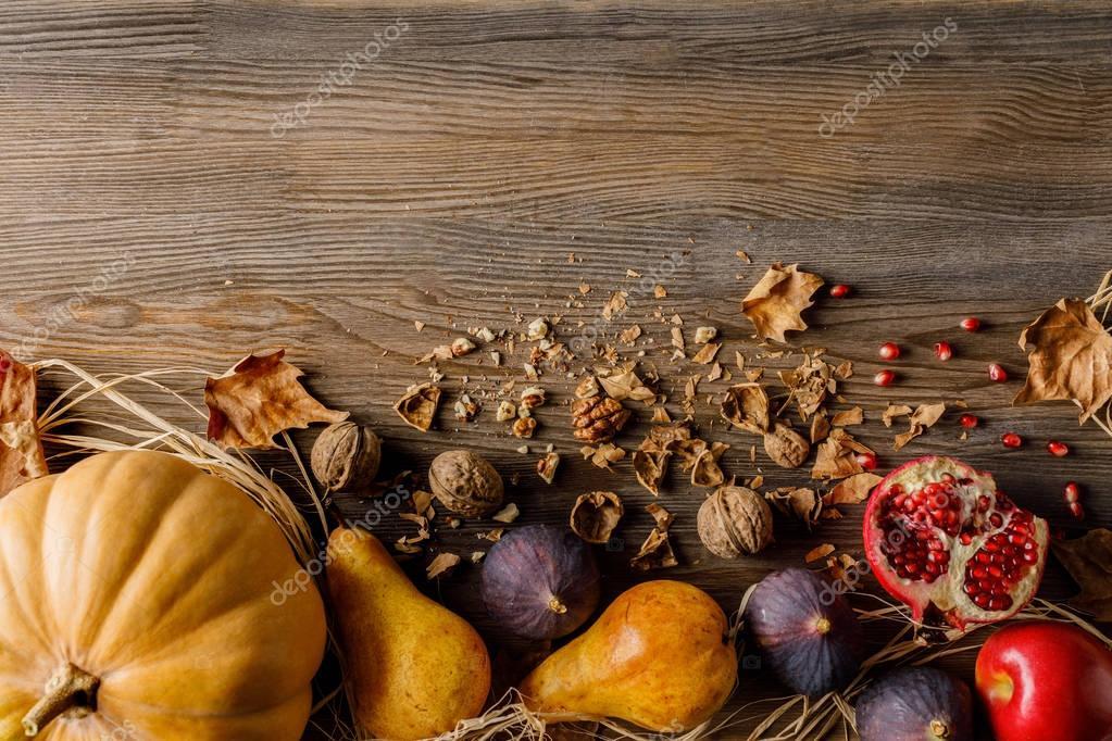 pumpkin, seasonal fruits and walnuts