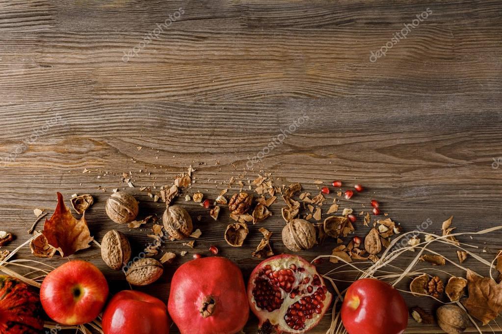 pomegranates, apples and walnuts