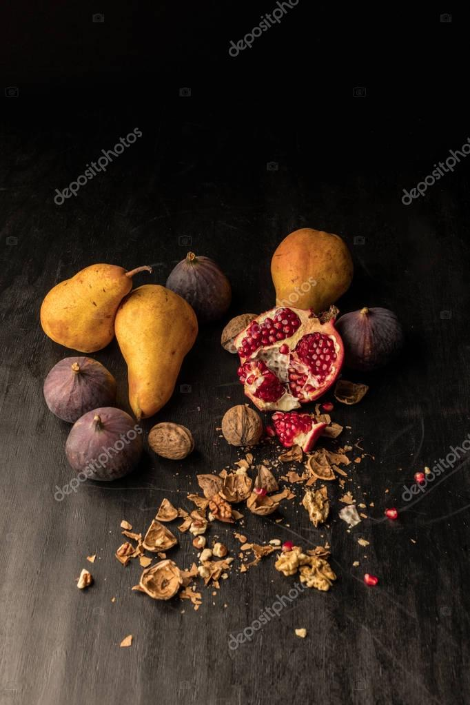 autumnal fruits and walnuts