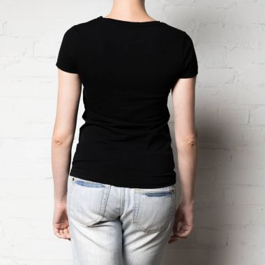 Cropped shot of woman in blank black t-shirt stock vector