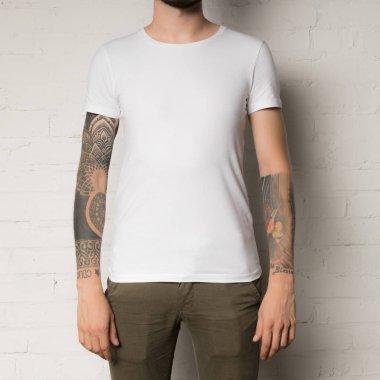 man in blank white t-shirt