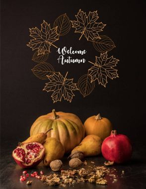 organic pumpkins and fruits