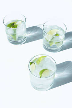 Close-up view of Gin Tonic cocktail with lime and ice cubes in glasses on white stock vector
