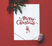Christmas card with fir tree branch
