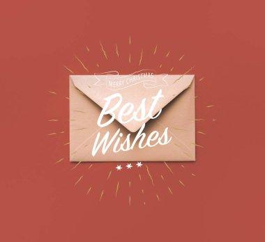 Christmas kraft envelope with greeting