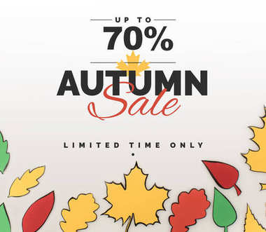 Composition of drawn autumnal leaves, autumn sale concept stock vector