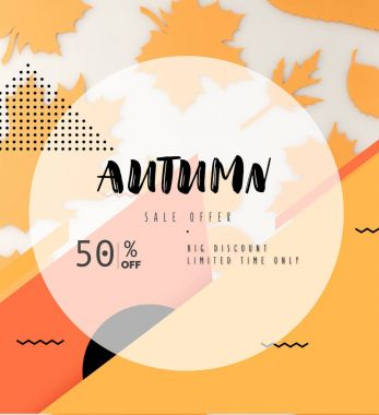 Composition of various autumn leaves and geometric figures, autumn sale concept stock vector