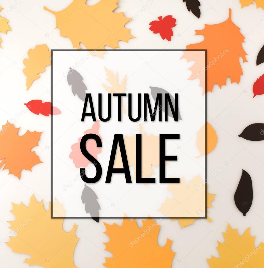 Various autumnal leaves, autumn sale concept stock vector