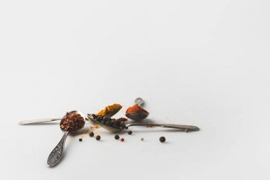 spoons with various spices