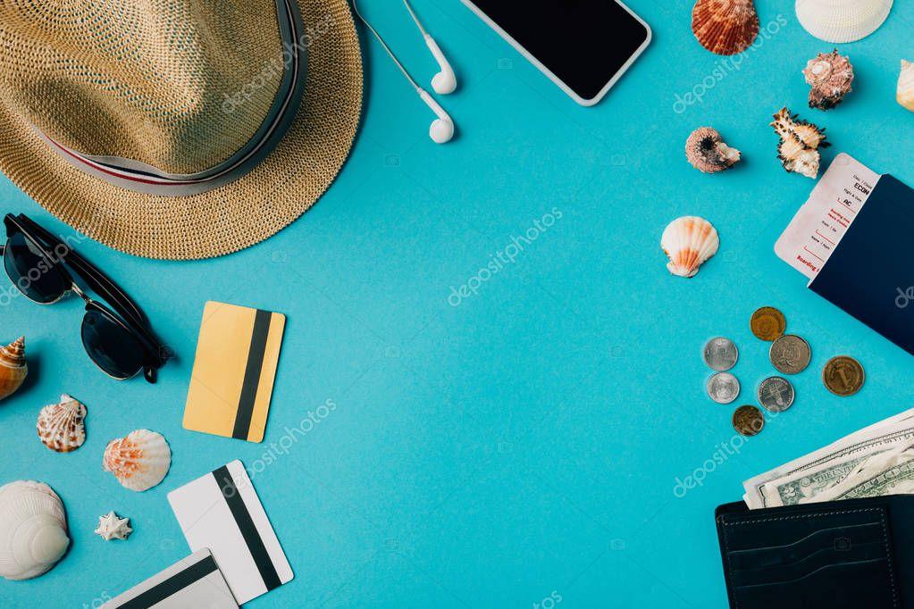 Travel stuff with seashells
