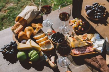 table with wine and snacks