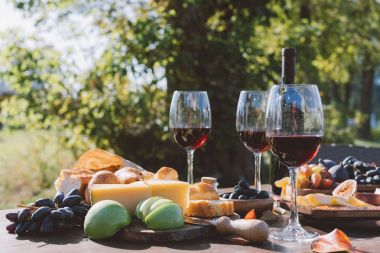 wine with fruits and cheese