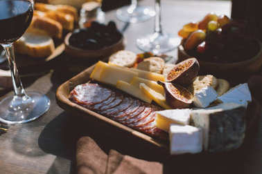 various snacks for red wine