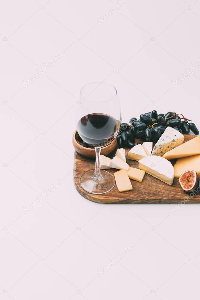 wine and various snacks