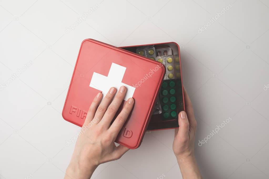 first-aid kit with pills