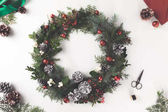 Photo christmas wreath and envelope