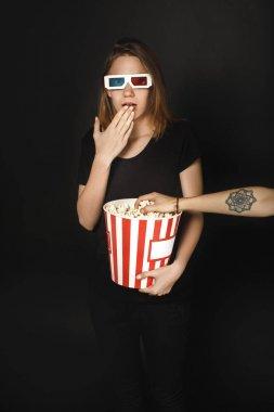 shocked woman in cinema
