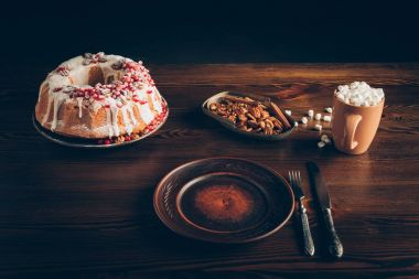 tableware and homemade christmas cake