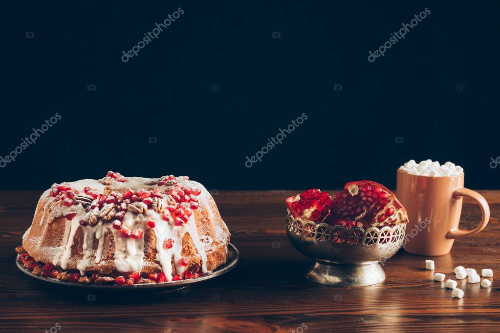 christmas cake and cup of cocoa
