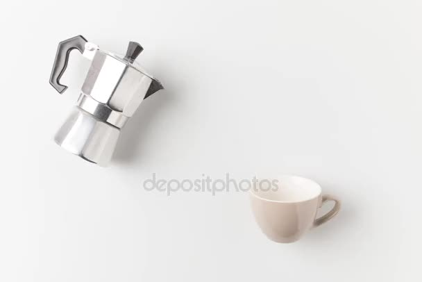 coffee beans pouring into cup