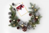 christmas wreath with greeting card