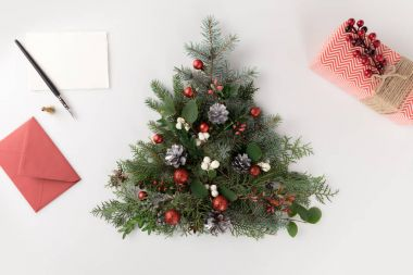 christmas tree, letter and present