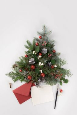 christmas tree and letter