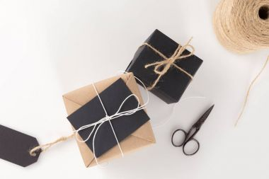 christmas presents, scissors and twine