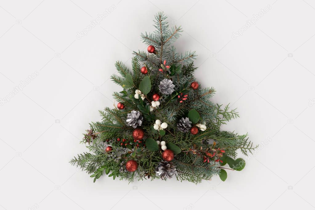 christmas tree made of fir branches