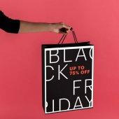 nő fekete gazdaságban bevásárló táska
