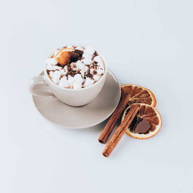 cacao with marshmallows, dried lemon and cinnamon