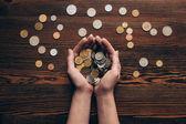 ženské ruce s mincí