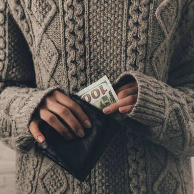 woman with euro banknote