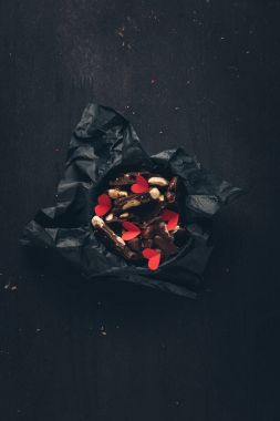 chocolate and red paper hearts