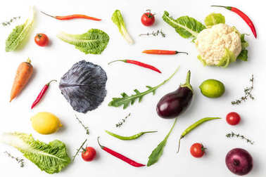 Top view of different vegetables isolated on white stock vector